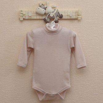 Body långärmad, rosa/vit
